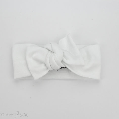 Spring 19 Organic Cotton Ribbed Bow Knot Headband - Coconut
