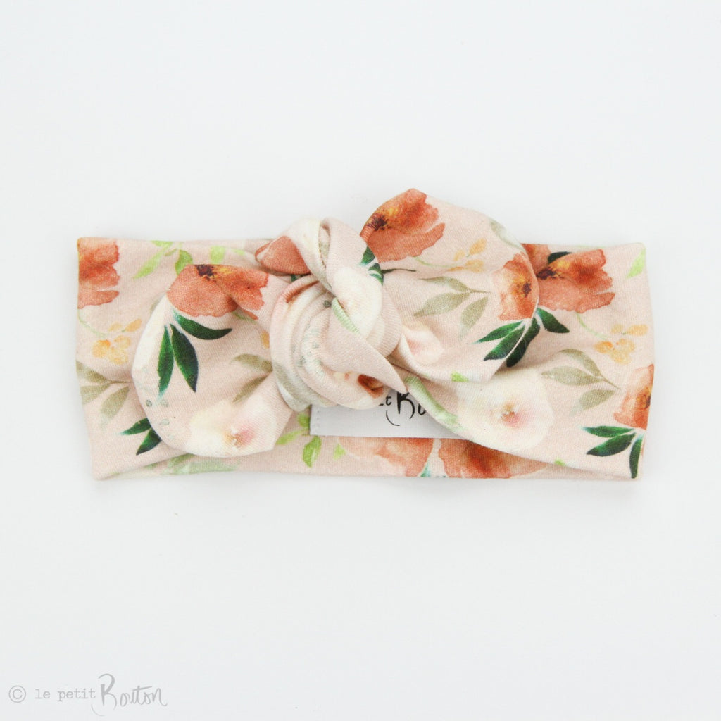 Spring 19 Organic Cotton Top Knot Headband - Terracotta Blooms on Blush