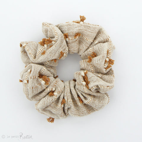 Luxe Statement Scrunchie - Gingerbead - textured tassels