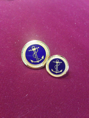 Anchor Buttons (Blue Enamel with Rope Edge)