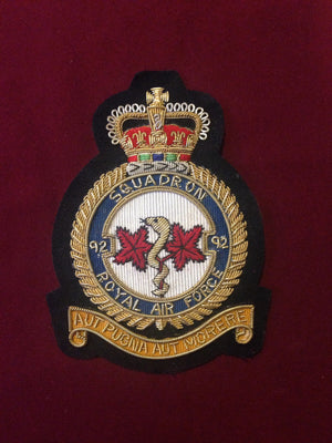 RAF 92nd Squadron Blazer Badge
