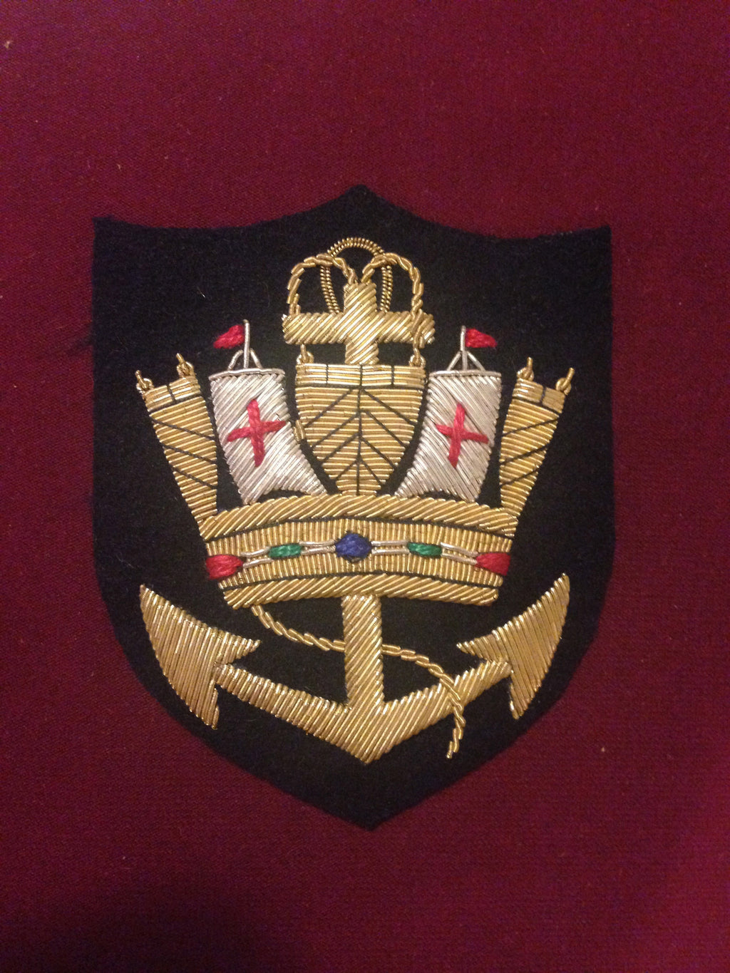Royal Naval Crown Blazer Badge Anchor
