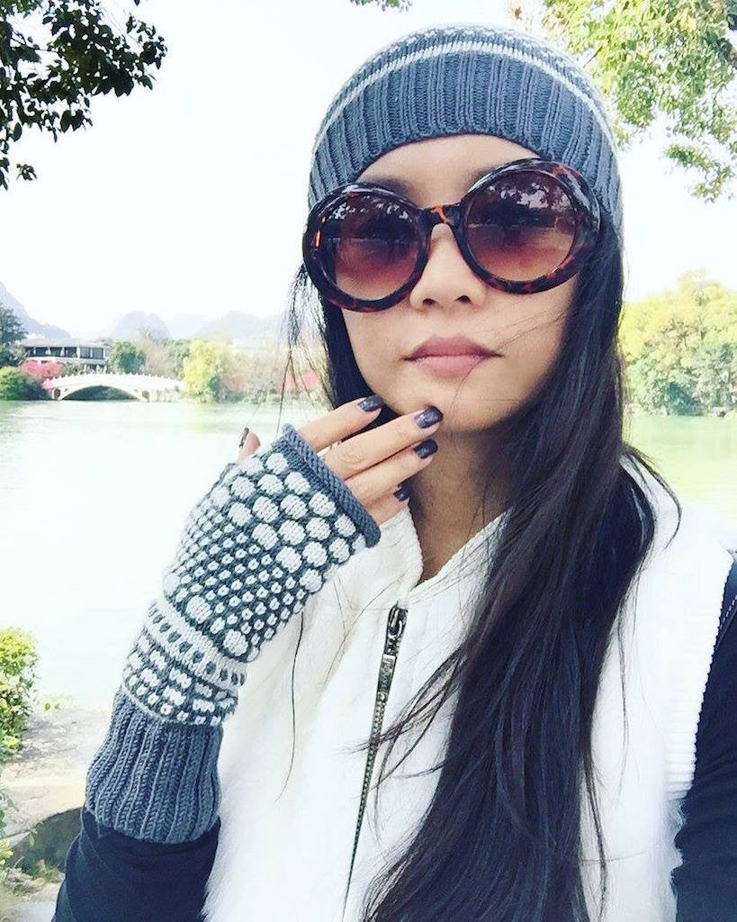 Wendy wears Women's Gray Knit Beanie and Fingerless Gloves Set by Iveta Stasiulioniene