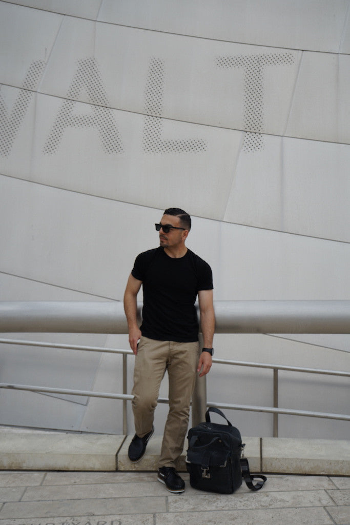 Jerry wears Merino Wool Black T-Shirt by One For The Road