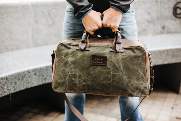 Leather and Canvas Weekender Bag