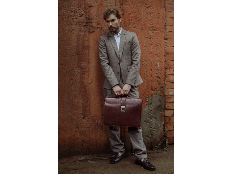 Brown Leather Briefcase - The Firm for Men and Women by Time Resistance on Jetset Times SHOP