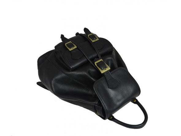 Women's Black Leather Backpack - Jane Eyre by Time Resistance on Jetset Times SHOP