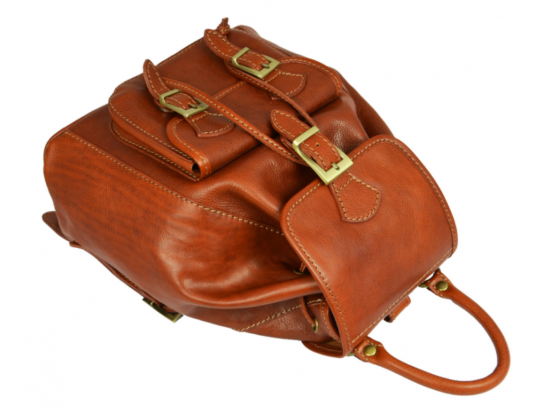 Women's Orange Leather Backpack - Jane Eyre by Time Resistance on Jetset Times SHOP