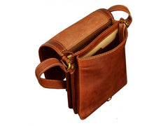 Orange Leather Messenger Bag - On The Road for Men and Women by Time Resistance on Jetset Times SHOP