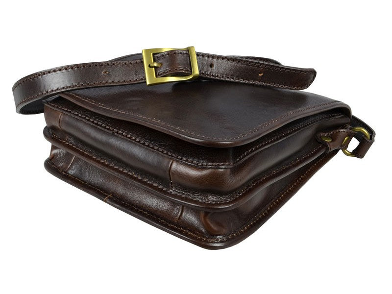 Dark Brown Leather Messenger Bag - On The Road for Men and Women by Time Resistance on Jetset Times SHOP