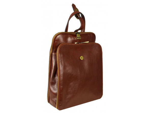 Women's Brown Leather Backpack - Clarissa by Time Resistance on Jetset Times SHOP