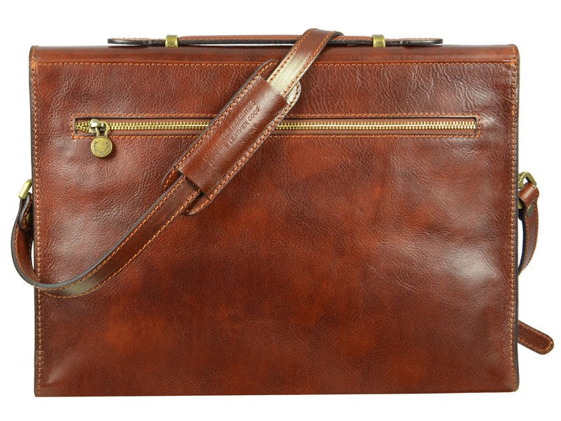 Brown Leather Briefcase - Moonheart for Men and Women by Time Resistance on Jetset Times SHOP