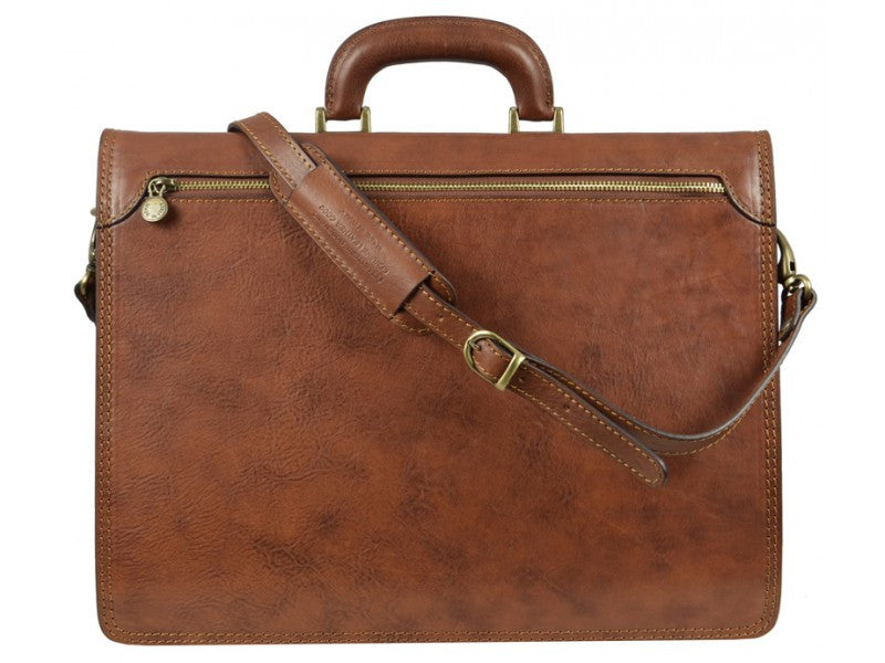 Light Brown Leather Briefcase - The Sound of the Mountain for Men and Women by Time Resistance on Jetset Times SHOP