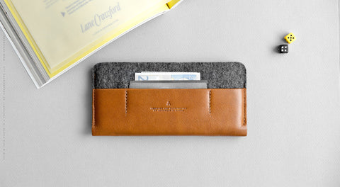Leather iPhone/iPhone Plus Sleeve Wallet - Portside in Brown w/ Dark Gray
