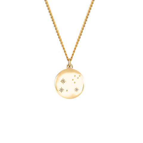 Women's Zodiac Constellation Necklace - Solid 9ct Yellow Gold & Diamonds