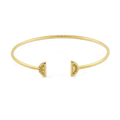 Women's Sun & Moon Bangle - Gold Vermeil