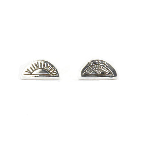 Women's Half Circle Stud Earrings - Sami Sun & Moon in Silver