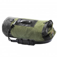 Leather Canvas Weekender Duffel Bag for Men and Women - Army Green Canvas with Black Leather Straps by Kruk Garage on Jetset Times SHOP