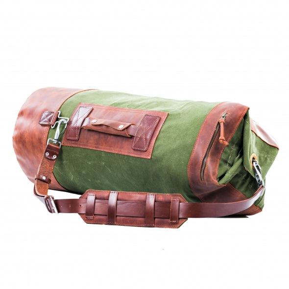 Leather Canvas Weekender Duffel Bag for Men and Women - Army Green Canvas with Cognac Brown Leather Straps by Kruk Garage on Jetset Times SHOP