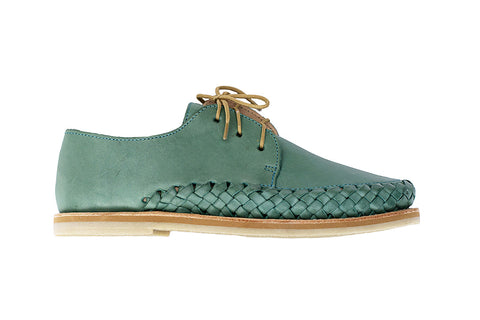 Women's Turquoise Casual Leather Shoes - Sayulita