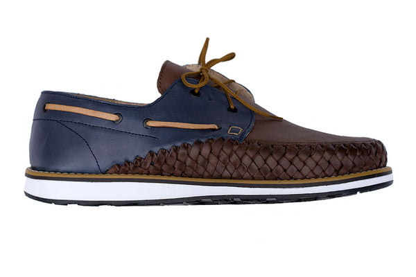 Men's Casual Leather Shoes - Puerto Vallarta in Blue and Brown by Tapatía on Jetset Times SHOP