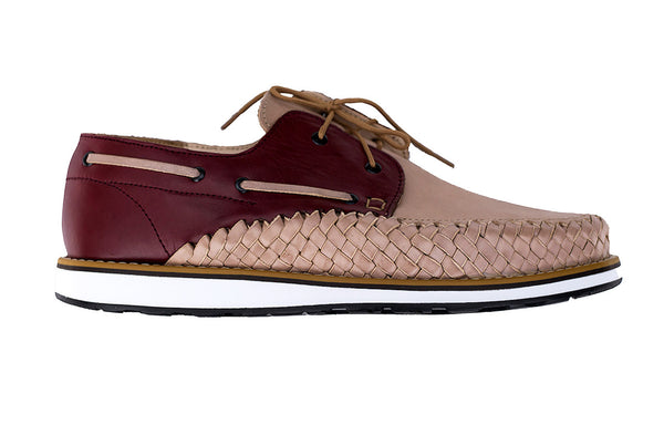 Men's Casual Leather Shoes - Puerto Vallarta in Bordeaux and Tan by Tapatía on Jetset Times SHOP