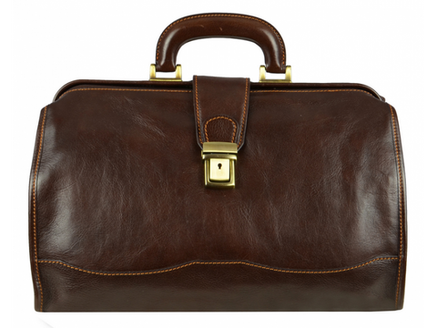 Dark Brown Leather Doctor Bag for Men and Women - David Copperfield