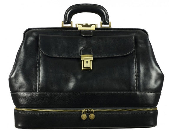 Black Leather Doctor Bag - The Master and Margarita for Men and Women by Time Resistance on Jetset Times SHOP