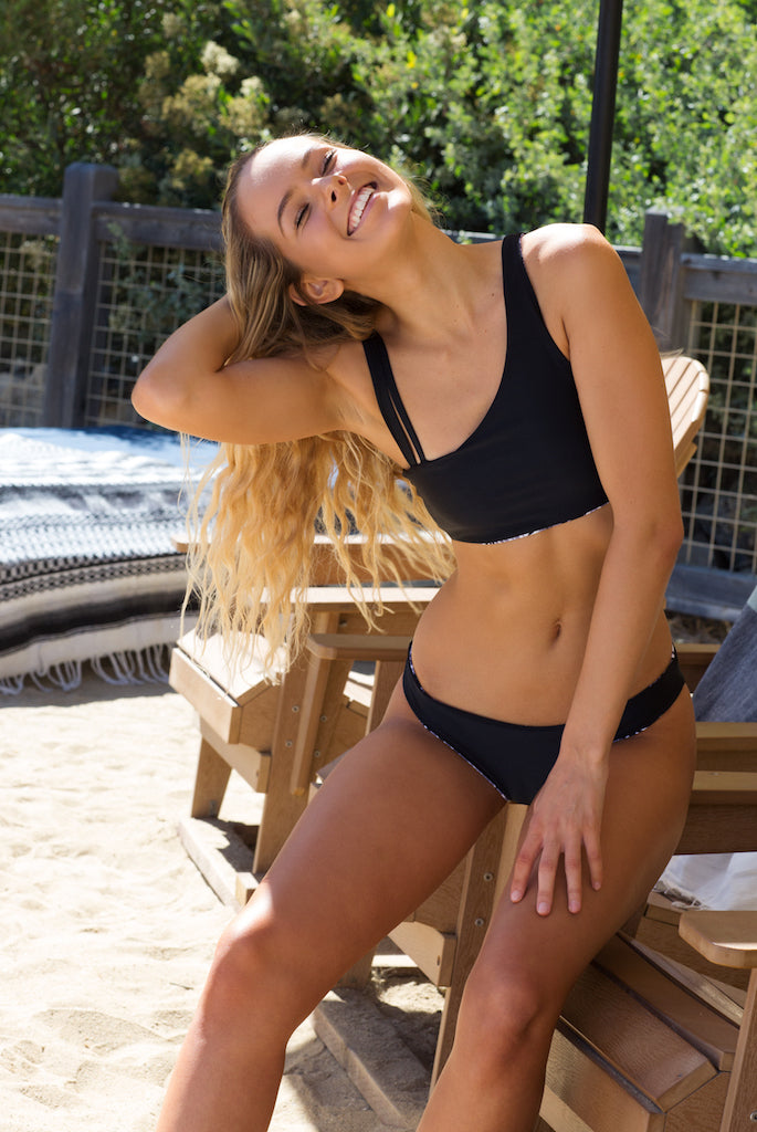 Women's Reversible Bikini Bottoms - Gosia Cheeky in Leaf/Black by Lagoa Swimwear on Jetset Times SHOP