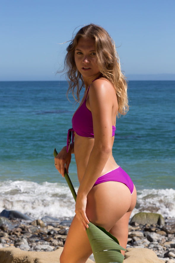 Women's Reversible Bikini Bottoms - Bea Ruched in Peony/Plum by Lagoa Swimwear on Jetset Times SHOP