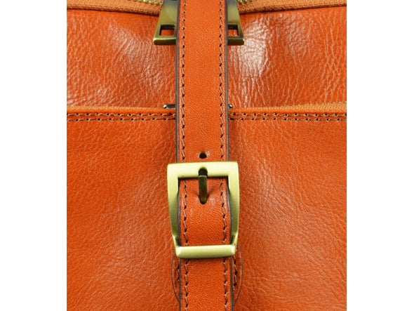 Women's Orange Leather Backpack - Clarissa by Time Resistance on Jetset Times SHOP