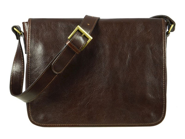 Dark Brown Leather Messenger Bag - The Stranger for Men and Women by Time Resistance on Jetset Times SHOP
