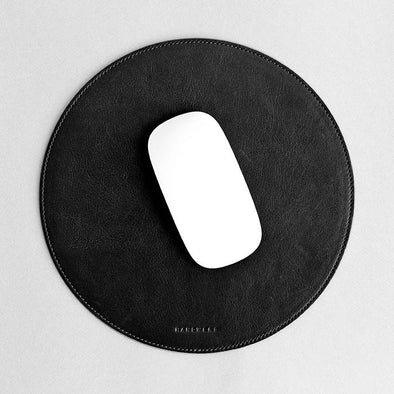 Round Leather Mouse Pad - Surface in Black by HANDWERS on Jetset Times SHOP