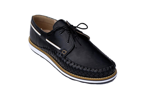 Men's Black Casual Leather Shoes - Puerto Vallarta