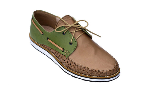 Men's Green Casual Leather Shoes - Puerto Vallarta