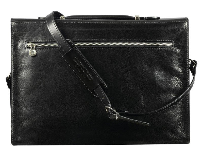 Black Leather Briefcase - Moonheart for Men and Women by Time Resistance on Jetset Times SHOP
