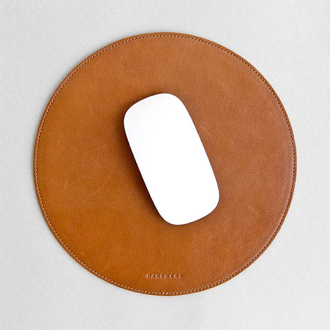 Round Leather Mouse Pad - Surface in Brown