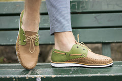 Men's Casual Leather Shoes - Puerto Vallarta in Green and Brown by TapatÌ_a on Jetset Times SHOP