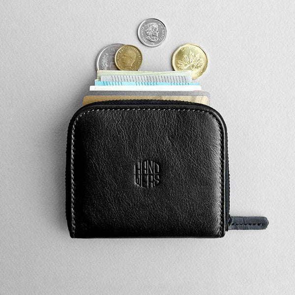 Leather Travel Zipper Wallet - Cliff in Black