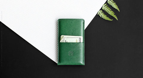 Leather iPhone/iPhone Plus Sleeve w/ Pocket - Hike in Green