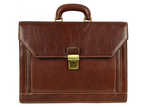 Brown Leather Briefcase for Men and Women - The Good Soldier
