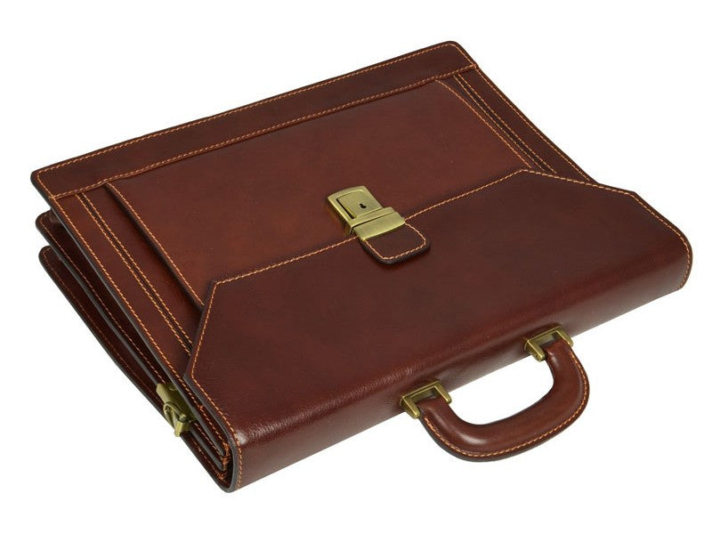 Brown Leather Briefcase - The Good Soldier for Men and Women by Time Resistance on Jetset Times SHOP