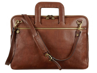 Brown Leather Briefcase - Brave New World for Men and Women by Time Resistance on Jetset Times SHOP