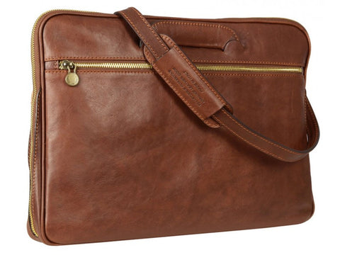 Brown Leather Briefcase for Men and Women - Brave New World