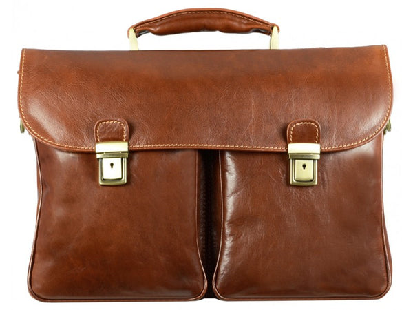 Brown Leather Briefcase for Men and Women - The Catcher in the Rye