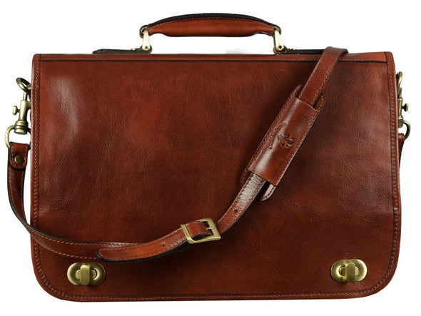 Dark Brown Leather Briefcase - Illusions for Men and Women by Time Resistance on Jetset Times SHOP