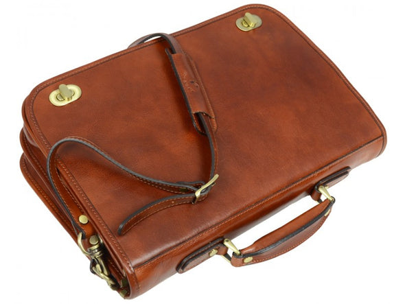 Brown Leather Briefcase - Illusions for Men and Women by Time Resistance on Jetset Times SHOP