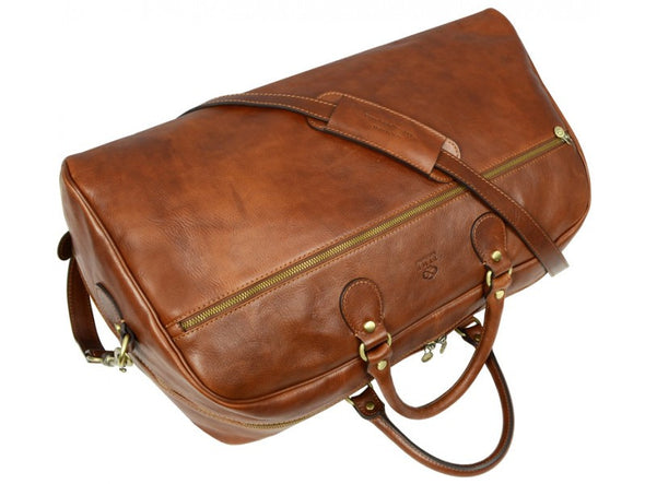 Light Brown Leather Duffel Bag - Fear and Loathing in Las Vegas for Men and Women by Time Resistance on Jetset Times SHOP