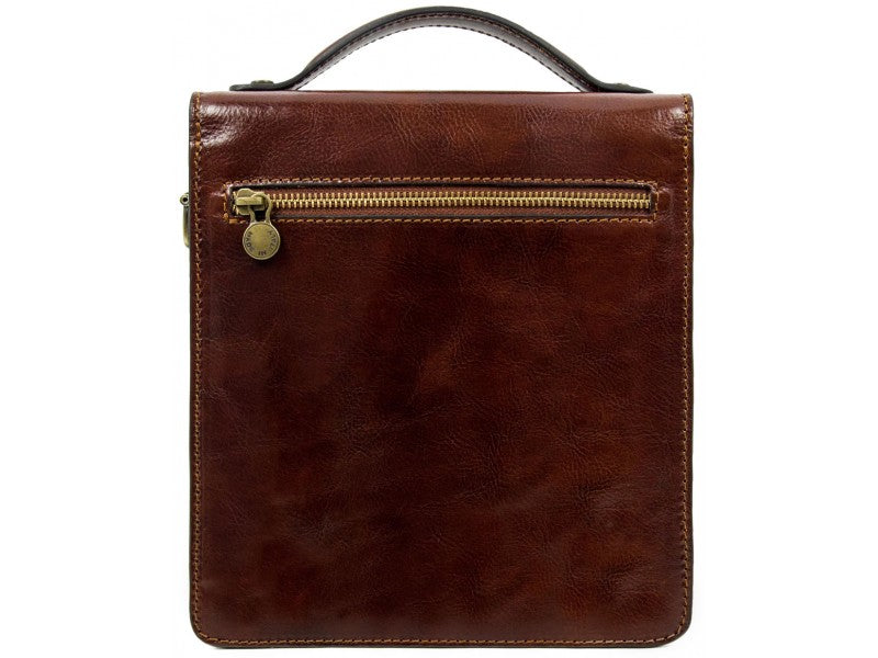Small Brown Leather Briefcase - Walden for Men and Women by Time Resistance on Jetset Times SHOP