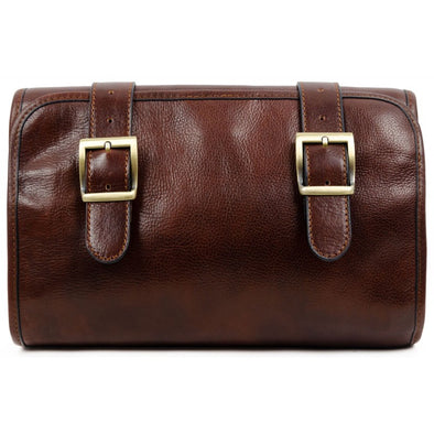 Brown Leather Hanging Wash Bag Toiletry Bag - Dracula